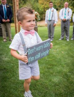 Just the cutest page boy ever! Adorable by … – Wedding Day Ready Wedding With Kids, Perfect Wedding, Our Wedding, Dream Wedding, Ring Bearer Signs, Ring Bearer Ideas, Ring Bearer Outfit, Page Boy, Wedding Signs