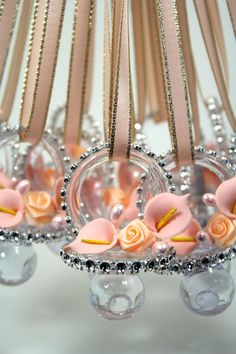 Peach Baby Shower Pacifier Necklace (12 Pieces) Games Baby Shower Favors /  Rhinestone Mesh