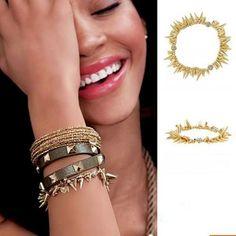 Fashion Gold Rivets Elastic Bracelet