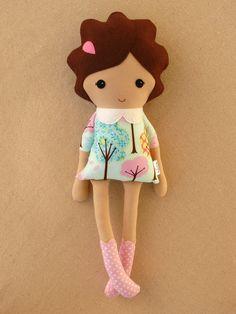 Fabric Doll Rag Doll Girl in Blue Tree Print Dress. $35.00, via Etsy.