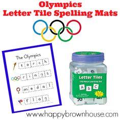 Olympics Letter Tiles Spelling Mats (Free Printable) #preschool #kindergarten #olympics #ece