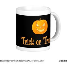 Black Trick Or Treat Halloween Coffee Mugs ($18) ❤ liked on Polyvore featuring home, kitchen & dining, drinkware, halloween coffee mug, black drinkware and black coffee mug