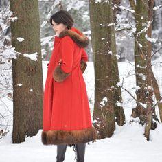 Vintage 1960s Coat // 60s Coat // Fur Trim Coat with Hood // Red Riding Coat