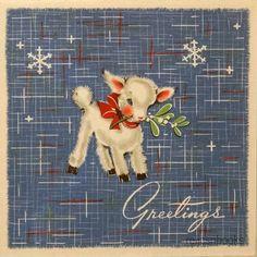 40's Sweet Little Lamb~~Vintage Christmas Card.