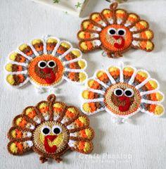 Crochet Turkey Coasters | AllFreeHolidayCrafts.com