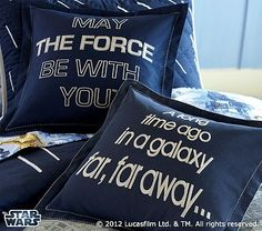 Pottery Barn Kids Star Wars Decorative Shams. I'm definitely getting the May the Force be with you pillow for D's big boy room!