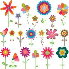 flowers cartoon background