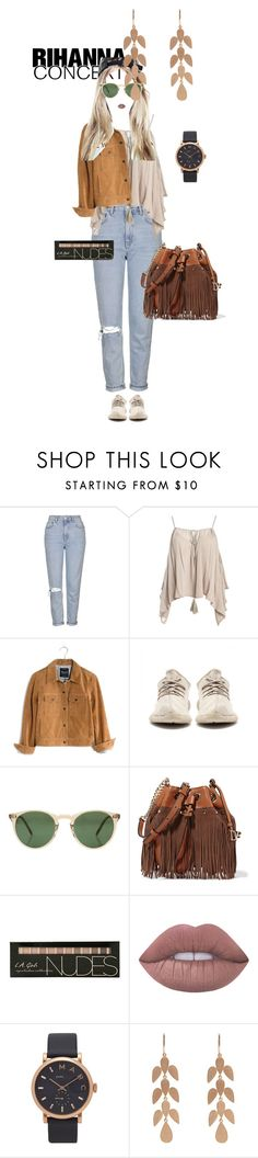 """Untitled #461"" by yvsra ❤ liked on Polyvore featuring Topshop, Sans Souci, Madewell, Oliver Peoples, Diane Von Furstenberg, Lime Crime, Marc Jacobs and Irene Neuwirth"