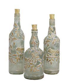 3 Piece Azur Glass Decorative Bottles Glass Home Decor