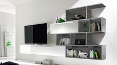 meuble tv suspendu laque etagere bois gris athyn mobiliermoss