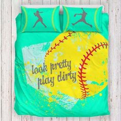 Softball Bedding Set Limited Edition Pillow inserts are not included Features a singlesided full color print on luxurious brushed polyester fabric Construc Softball Room Decor, Softball Decorations, Softball Crafts, Softball Quotes, Softball Shirts, Softball Pictures, Softball Mom, Softball Players, Fastpitch Softball