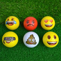Emoji Emoticon Golf Balls Laughing, Poop, Smile, Bandit, Angry, Hearts