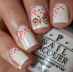 Romantic Bike Ride For Two Manicure | 23 Spring Nail Art Designs, check it out at http://makeuptutorials.com/nail-designs-spring-nail-art/