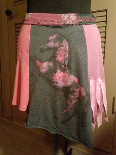 "One-of-a-Kind Flirty Skirt Mini ""Pink Pony"" Mini Skirt by Altered St8 Couture. Upcycled / Altered / T-shirt / Horse / Flower / Girly / Restyled / DIY #refashioned #horsingaround #girlygirl #horselover"
