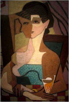 Jean Metzinger - Femme face et profil. Femme au verre, 1919