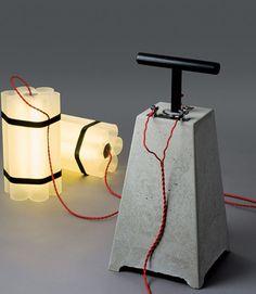 Mister Boom and Miss Dynamite Lamp by Docstone. Via TheMAG.it - concrete armatures - concrete light Concrete Light, Concrete Lamp, Beton Design, Concrete Design, Cool Lamps, Unique Lamps, Lamp Design, Lighting Design, Diy Luz