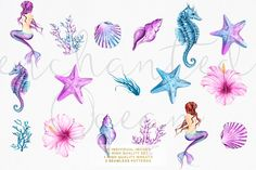 Ad: Enchanted Ocean - Watercolor Mermaid by Frou Fou Craft on Set of high resolution clip art pack. You'll receive: - 22 high quality PNG files with separate images, approx size of one image inches Wolf Tattoos, Finger Tattoos, Body Art Tattoos, Small Tattoos, Sleeve Tattoos, Tribal Tattoos, Guy Tattoos, Tatoos, Seashell Tattoos