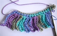How To Crochet: Chain Loop Fringe.   This would be great for scarfs