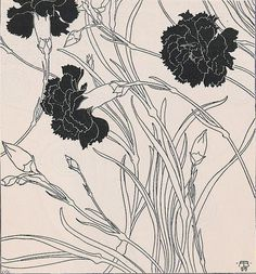 illustration for the journal Ver Sacrum by Adolf Böhm Austrian - He was a founding member of the Vienna Secession - His works show a distinctive ornamental style (emilypappa - wiki) Art And Illustration, Botanical Illustration, Illustrations, Inspiration Art, Art Inspo, Fleurs Art Nouveau, Art Nouveau Flowers, Jugendstil Design, Illustration Botanique