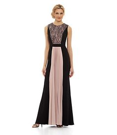 JS Collections Lace-Paneled Gown | Dillard's Mobile