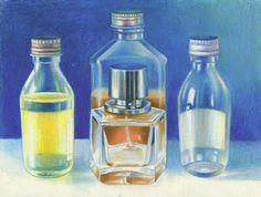 Pencil Drawing Techniques How to Draw Glass using Coloured Prismacolor Premier Pencils Pencil Drawing Tutorials, Art Tutorials, Pencil Drawings, Colored Pencil Tutorial, Colored Pencil Techniques, Bottle Drawing, Coloured Pencils, Coloured Glass, Hyper Realistic Paintings