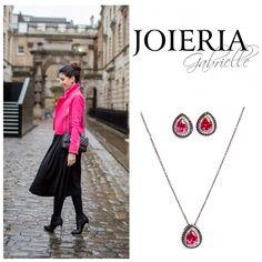 JOIERIA GABRIELLE  Conjunto brinco e corrente | gota cravada| ródio negro | cristal rosa magenta