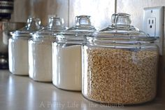 ***For my open cabinet concept*** BRG kitchen organizing tips, kitchen design, organizing, Put your most used pantry staples in glass jars on your counter right within reach