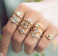 Sparkly rings #rings #jewelry http://www.allthingsvogue.com/best-everyday-silver-bracelets/