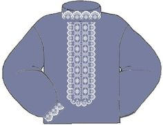 Льняная джинсовая мужская вышиванка ВМЛ-019-Дж