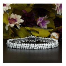 13CT Fire Opal 14K Rose Gold Over Wave Tennis Wedding Bracelet For Special Gift