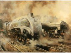 Terence Cuneo Train Posters, Railway Posters, Train Illustration, Steam Art, Old Steam Train, Train Times, Train Art, Diesel, Old Trains