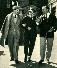 Pietro Garinei (left) and Sandro Giovannini (right) with popular bandleader, jazz soloist and composer Gorni Kramer (real name: Francesco Kramer Gorni), who composed the music for their shows in the late 1940s and in the 1950s.