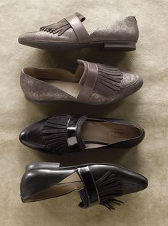Tassled leather flats in a timeless d'Orsay style are offered up with a full-grain leather upper and nubuck details for dimension. Shipped to USA only.