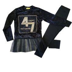 f79ce89142eb Σετ με βελούτε μπλούζα και μαύρο κολάν (6 έως 16 ετών)