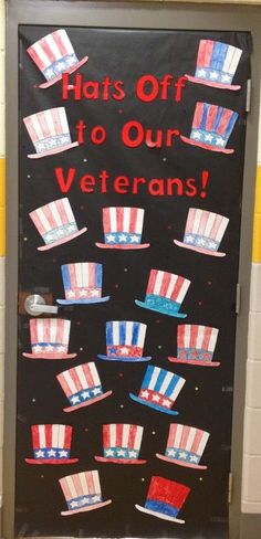 Veterans Day classroom door decoration - New Pin Patriotic Crafts, July Crafts, Kid Crafts, Veterans Memorial Day, Veterans Day Celebration, Veterans Day Activities, Classroom Door, Classroom Ideas, Preschool Classroom