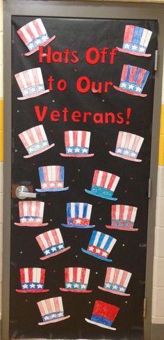 Veterans Day classroom door decoration - New Pin Veterans Memorial Day, Veterans Day Celebration, Veterans Day Activities, Classroom Door, Classroom Ideas, Preschool Classroom, Patriotic Crafts, July Crafts, Kid Crafts