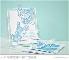 Blue Skies Ahead, Blueprints 15 Die-namics, Blueprints 20 Die-namics, Flutter of Butterflies - Lace, Stitched Fishtail Flags STAX Die-namics - Debbie Olson  #mftstamps