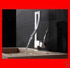 Bathroom Vessel Sink Vanity Solid Brass Waterfall Lavatory Faucet Mixer BLF002 #