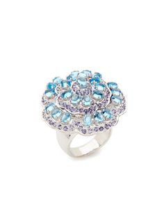 Blue Topaz & Iolite Floral Ring by at Hammerman at Gilt Blue Topaz, Heart Ring, Cool Style, White Gold, Engagement Rings, Pearls, Gemstones, Flower Rings, Accessories