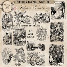 ~ STORYLAND SET III ~ Scenes From Alice in Wonderland - 27 High Quality PNG Stamps