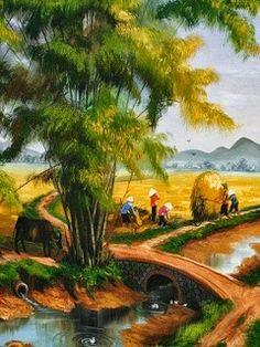 Tải những bức tranh đẹp về thiên nhiên và cuộc sống tuyệt đẹp Green Landscape, Landscape Art, Landscape Paintings, Cool Landscapes, Beautiful Landscapes, Hanoi, Art Village, Landscape Pictures, Visionary Art