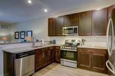 Beautiful Kitchens in each apartment, with Shaker cabinets, Stainless Steel appliances, quartz counter tops and subway tile backsplash! Shaker Cabinets, Kitchen Cabinets, Location Villa, Subway Tile Backsplash, Thing 1, 1 Bedroom Apartment, Stainless Steel Appliances, Quartz Countertops, Luxury Apartments