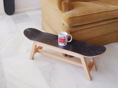 Skateboard stool with legs of solid beech wood and skate deck with varnished… Skateboard Bedroom, Skateboard Decor, Skateboard Rack, Skateboard Furniture, Skateboard Design, Deck Furniture, Furniture Design, Small Space Interior Design, Home Room Design