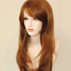 $59.95 WIG-Auburn layered wig with bangs by Stars4Ucollection on Etsy
