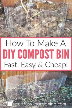 If you want to start composting in your garden for very little money, then you should build your own inexpensive outdoor wire compost bin! This is the perfect project for beginners, and you'll be able to start using it to mix your own black gold right away! Learn exactly how to make a cheap and easy DIY homemade compost bin. This is a very fast project (less than an hour!), and you can modify this simple design to make it as large or small as you need to.
