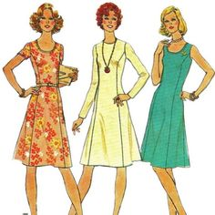 Fashion Basic Scoop Neck or Jewel Nedk 1970s Simplicity 7026 Misses Princess Seam Dress womens vintage sewing pattern by mbchills