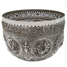 Antique Burmese Silver Pierced Bowl, Maung Hywet Nee, Rangoon (Yangon) Burma (Myanmar) – Late C. Burma Myanmar, Hands Together, Yangon, Meeting Place, Small Leaf, Silver Work, Renaissance Art, Burmese, Religious Art