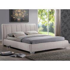 Baxton Studio Kenneth Queen Fabric Bed - BBT6085-QUEEN-LIGHT BEIGE