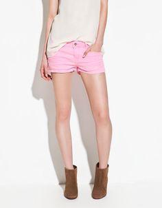neon shorts from zara