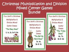 Fern Smith's Classroom Ideas! Multiplication & Division Mixed Practice Center Games For Christmas & Common Core!   3.OA.3 and 3.OA.7 $